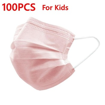 Black Pink Child Mask Disposable Protective Face Mask 3 Layer Nonwoven Anti-bacterial Dustproof Mouth Face Mask for Kids Health 12
