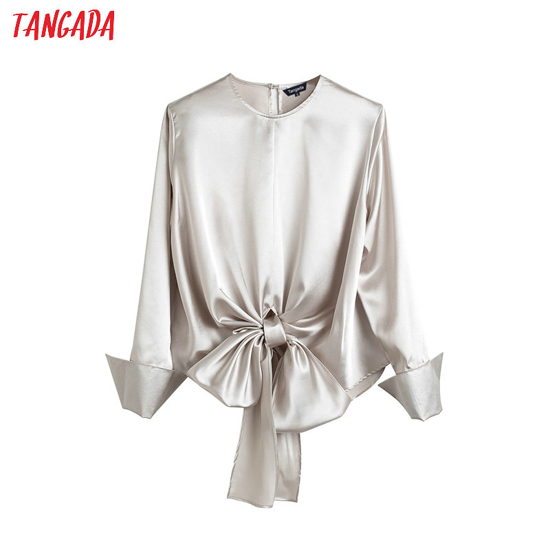 Tangada Women Pleated Shirts With Back Bow Long Sleeve O-neck Elegant Office Ladies Work Wear Blouses 4T10