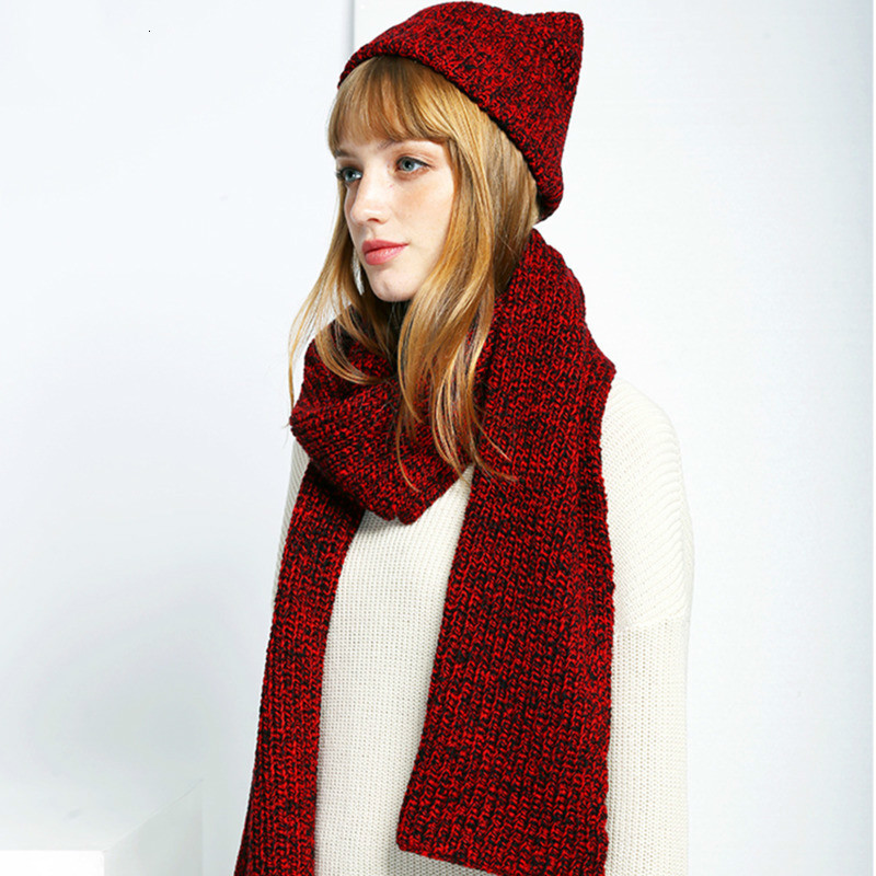 MEVGOHOT Woman Autumn Winter Warm Knitted Scarf With Hat Two Piece Set Solid All Match Fashion Girls Sweat Knit Scarf HD3122