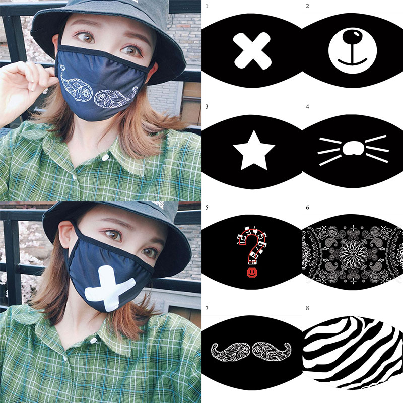 Black Mask Mouth Fabric Anti Dust Mask Reusable Women Man Cartoon Face Dustproof Mouth Mask Adult Hip Hop Face Mouth Mask