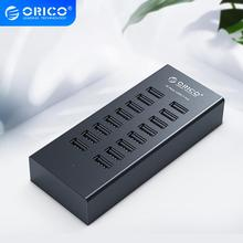 ORICO 16 Ports USB2.0 Hub with 12V2A Power Adapter 3.3Ft / 1M Data Cable for Apple Macbook Air Laptop PC Tablet - Black