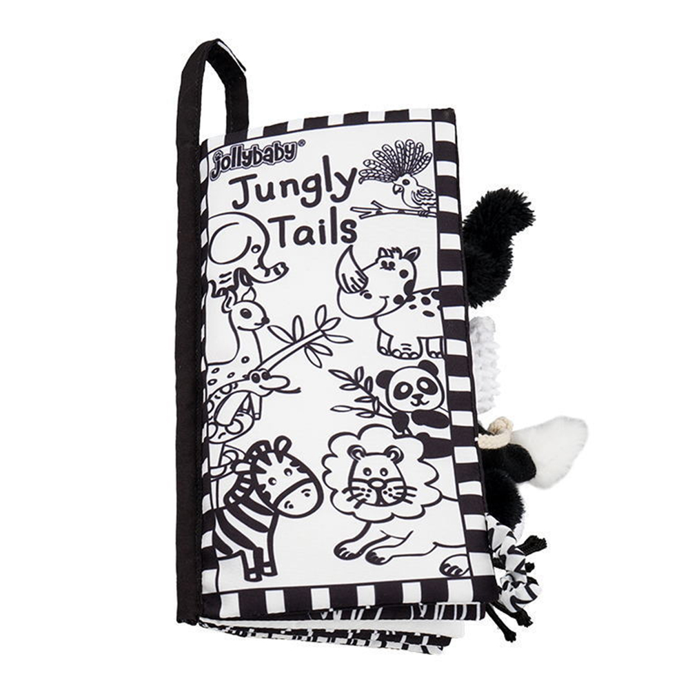 BABY 3D CLOTH BOOK VISUAL DEVELOPMENTAL TOY BLACK WHITE ANIMAL TAIL PUZZLE GIFT