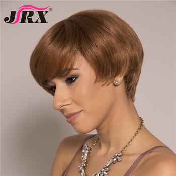 Krótkie fryzura Pixie włosów ludzkich peruk brazylijski Remy prosto pełna maszyna wykonane peruki z grzywką brązowy kolor tanie i dobre opinie CN (pochodzenie) Remy włosy Proste Brazylijski włosy Średnia wielkość 100 Human Hair As Picture length Pixie cut Human Hair Wig