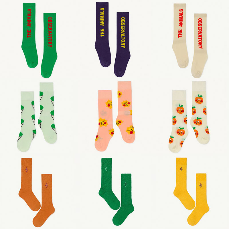 EnkeliBB Kids Summer Tube Socks TAO Brand Children Unisex Cotton Socks Trends Stylish Letter Fruit Long Socks