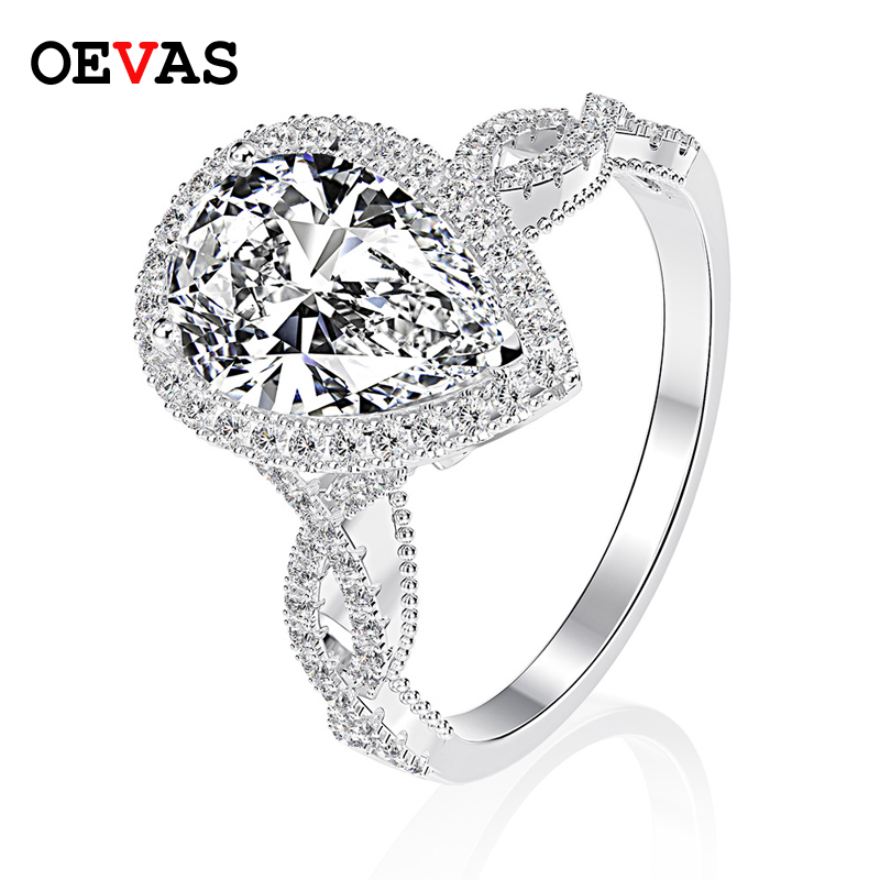 OEVAS Luxury 100% 925 Sterling Silver 6 CT Pear Created Moissanite Gemstone Wedding Engagement Ring Fine Jewelry Gift Wholesale