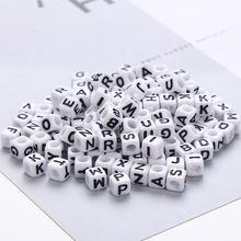 200 шт акриловые бусины 4*7 мм кубические буквы цифры в форме