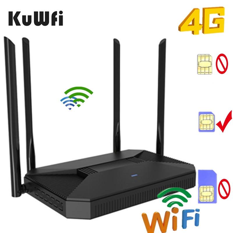 KuWFi 4G routeur débloqué 3G/4G SIM Wifi routeur CAT4 150Mbps intérieur maison sans fil CPE 2020New arrivée soutien 30 utilisateurs et Port RJ45