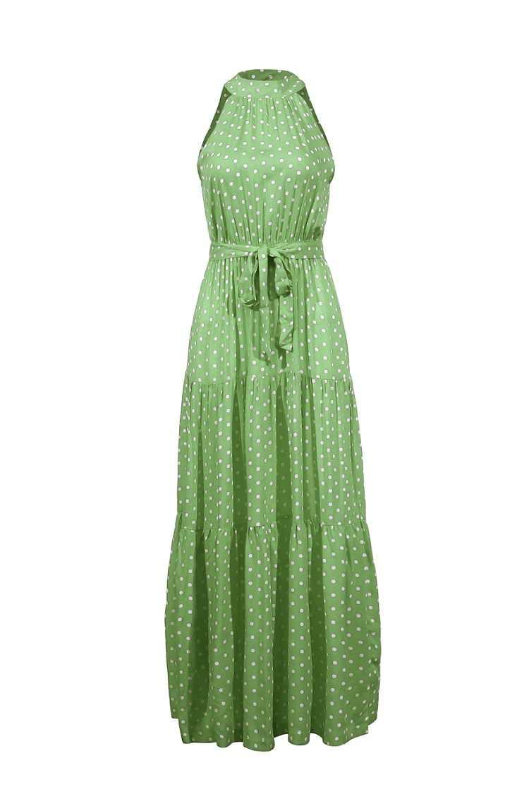 2020 여름 롱 드레스 폴카 도트 캐주얼 미디 드레스 블랙 홀터 Strapless 옐로우 Sundress 휴가 드레스 여성을위한 옷