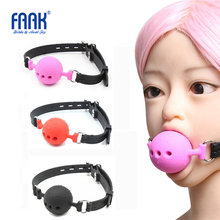 35MM 45MM 55MM Large Silicone Open Mouth Gag Ball with Black Strap BDSM Couples Bondage Adult Game Sex Toy Lasbian Flirting Plug(China)