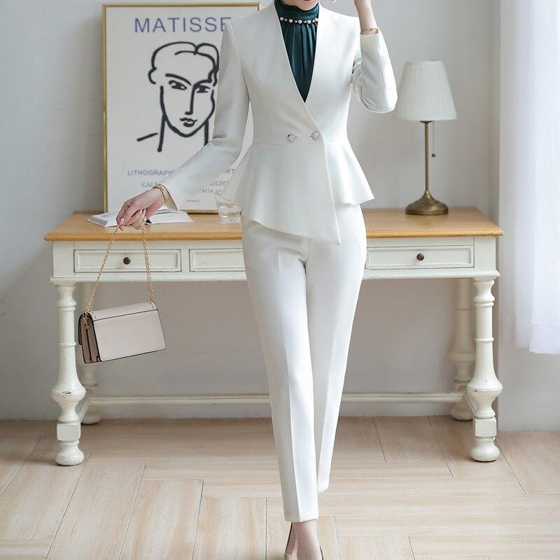 Professional Women's Suit High Quality Elegant Slim Irregular Short White Suit Female Slim Office Trouser Suit Two-piece Uniform