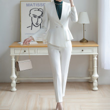 Professional womens suit high quality Elegant Slim Irregular Short White Suit Female office trouser Two-piece uniform