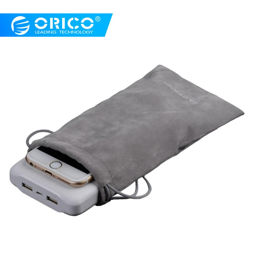 ORICO Velvet 180x100mm Mobilephone HDD Bag For USB Charger USB Cable Phone Power Bank Protection Portable Storage Bag Gray Case