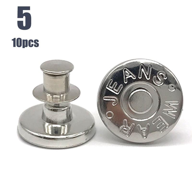 10pcs Retractable Jeans Button Adjustable Removable Stapleless Metal Button Zinc Alloy Round  -MX8