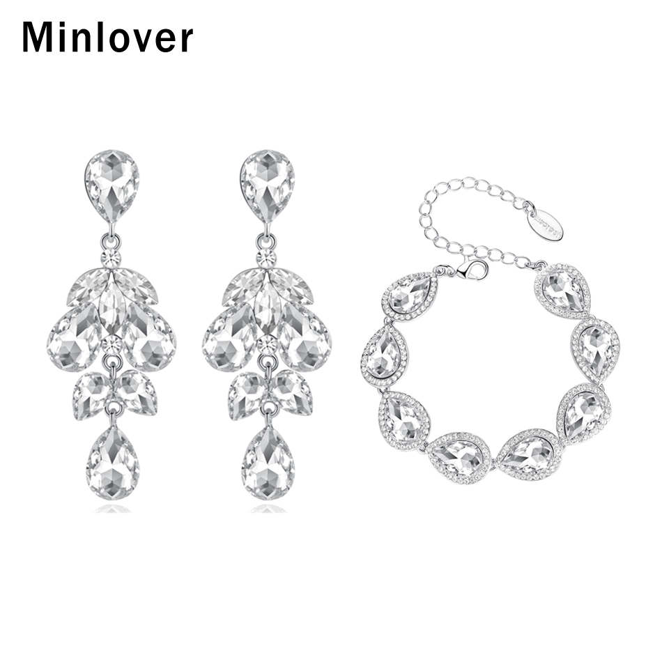 2020 Minlover Teardrop Crystal Wedding