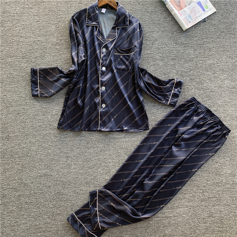 Men's Stain Silk Pajama Set Men Silk Sleepwear Men Sexy Modern Style Soft Cozy Satin Nightgown Men Sets