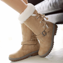 Women's Winter Boots Large Size 43-46 Fashion Buckle Lace Up PU Leather Boots Woman Rubber Mid Calf Snow Boots For Women цена 2017