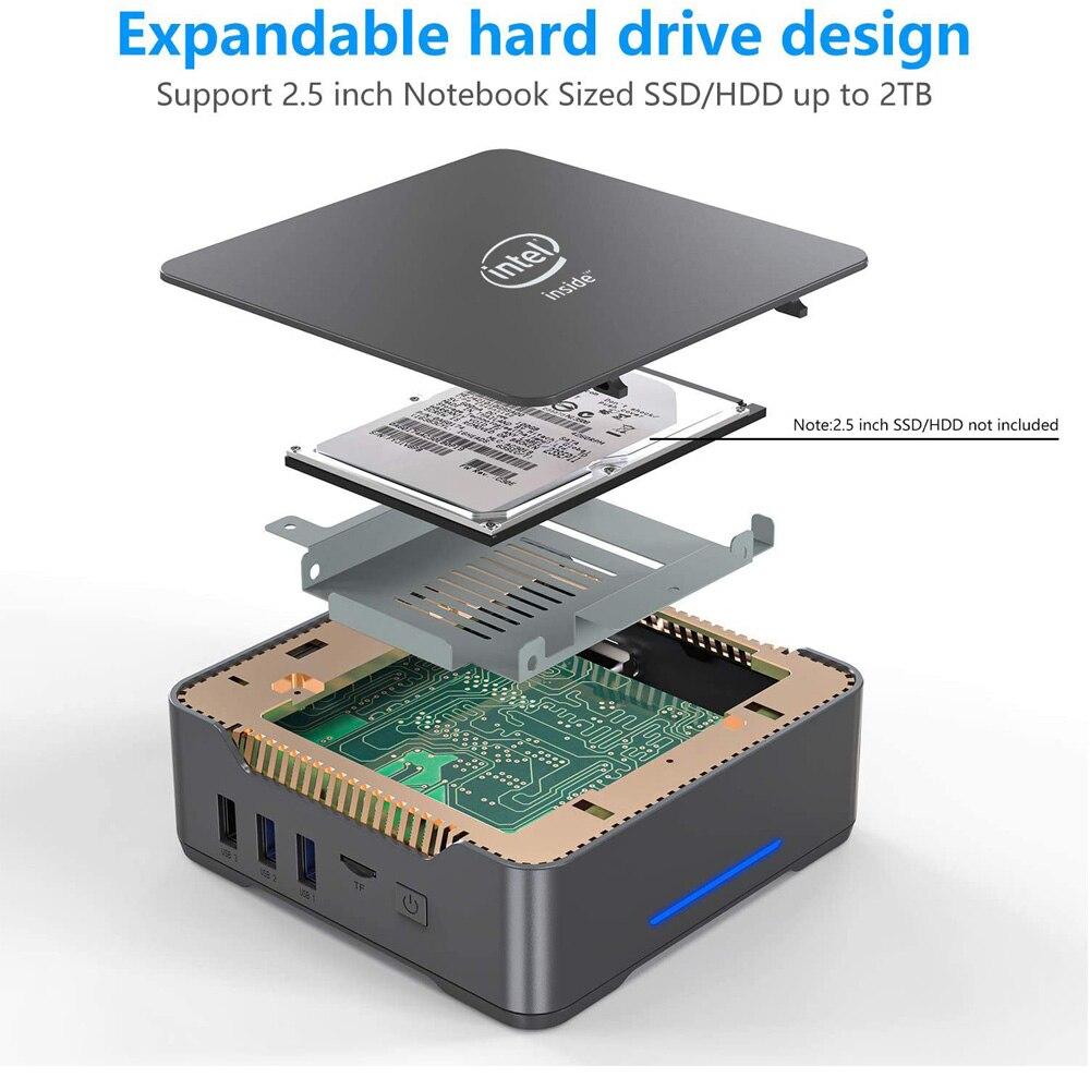 GK3V Gemini Intel J4125 Quad Core Mini PC DDR4 8GB 128GB/256GB SSD Windows 10 Dual WIFI 1000M LAN 4K WIN10 Gaming Mini Computer 5