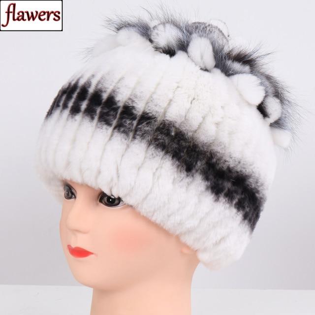 Sombrero de piel Real para mujer buen punto elástico auténtico de piel de conejo Rex sombrero de Invierno para mujer cálido grueso de piel Natural al por mayor al por menor