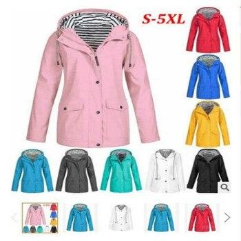 Women Jackets Winter Autumn Ladies Hooded Outdoor Raincoat Zipper Windbreaker Waterproof Outwear S-5XL Mujer Coat 828