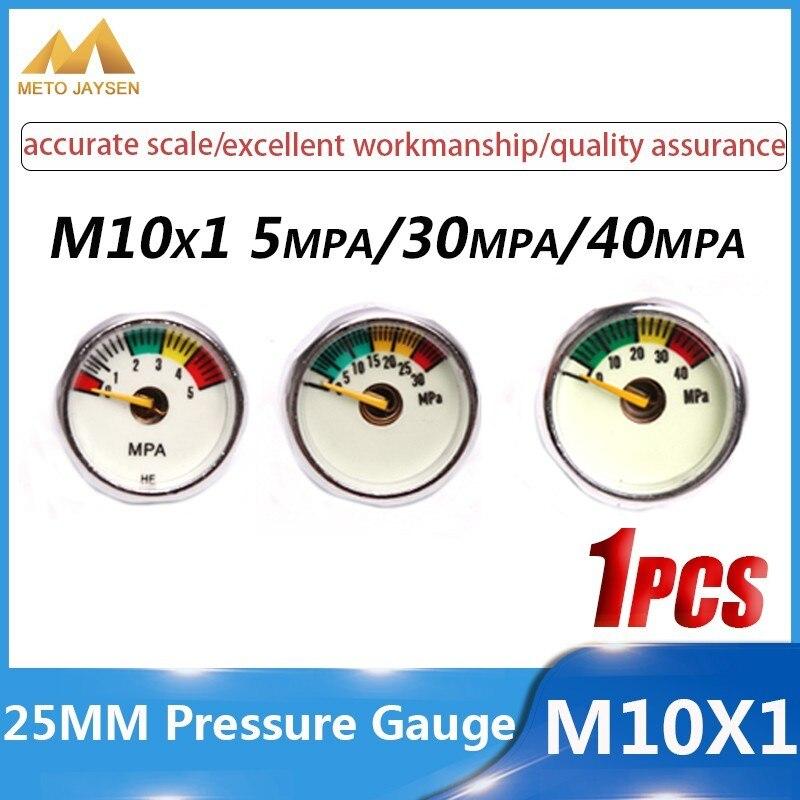 25mm M10x1 1 Inch High Pressure Gauge Air Mini Manometre PCP Paintball Airforce Pump Scuba Diving Valve Gauge 5mpa 30mpa 40mpa