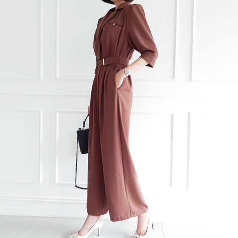 Office Lady Elegant Wide Leg Jumpsuits Women Autumn  Rompers Belted Waist  Playsuits Long Pants Overalls Karachi