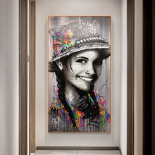 Graffiti Beautiful Happy Girl In A Hat Posters and Prints Canvas Paintings Wall Art Pictures for Living Room Decor No Frame