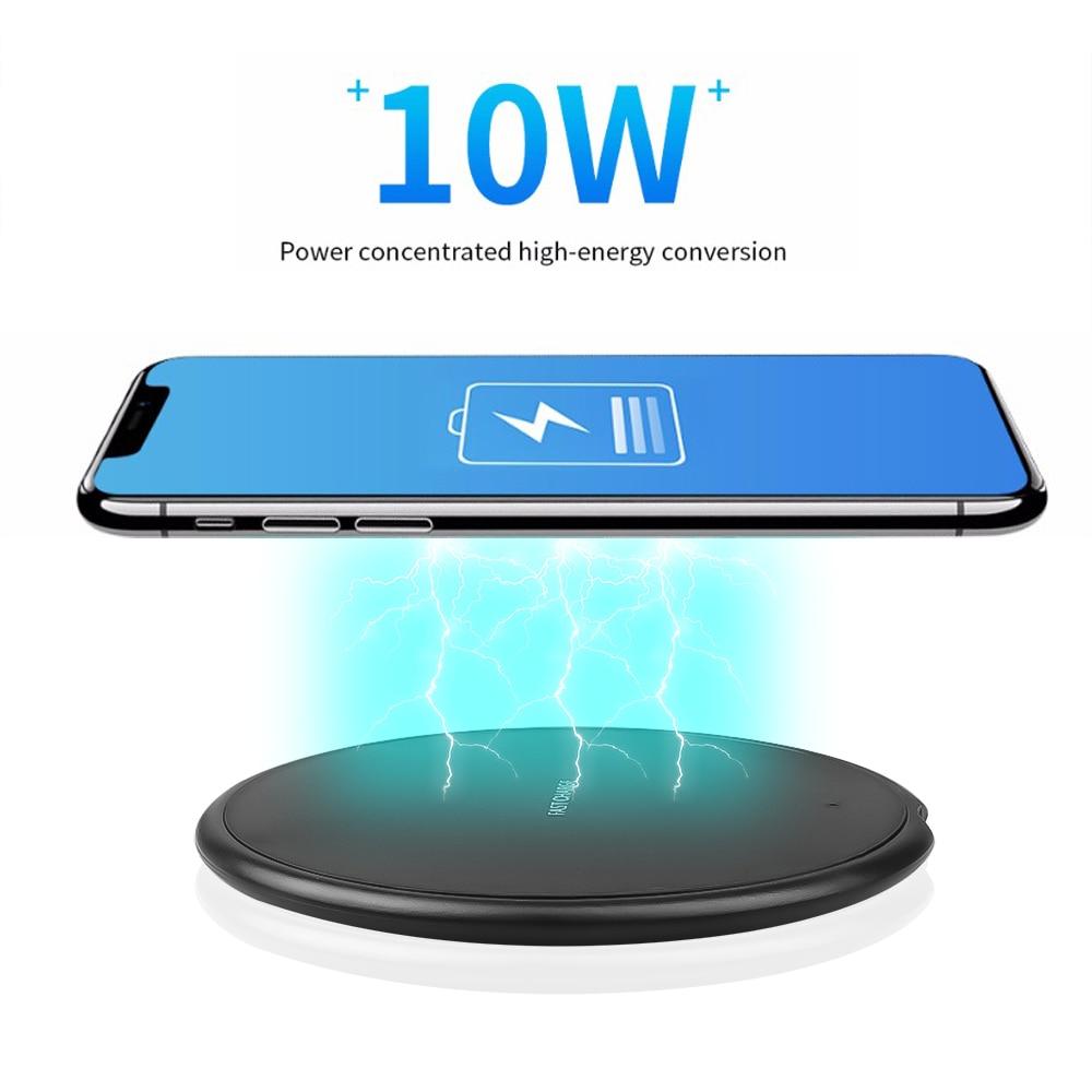 Беспроводное зарядное устройство Qi 5 Вт/10 Вт для iPhone 11 Xs Max X XR 8 Plus 10 Вт, быстрая зарядная площадка для Samsung Note 9 Note 8 S10 Plus