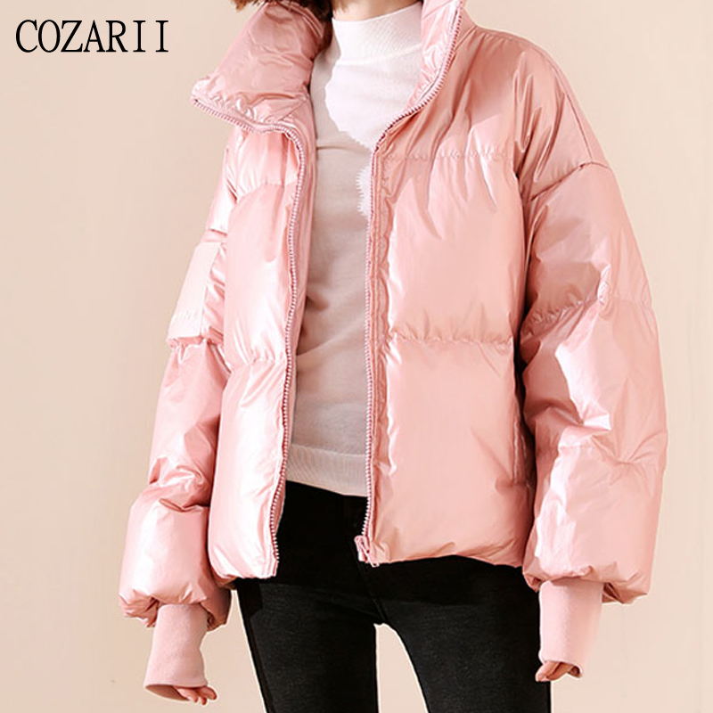 2019 Female Glossy Down Parka Winter Jacket Women Large Sizes Thick Loose White Duck Coat Waterproof Outerwear