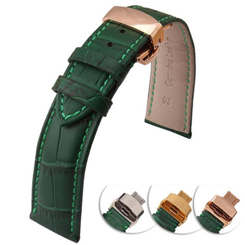 New Green Genuine cowhide Leather <font><b>12</b></font> 14 16 18 20 22 <font><b>mm</b></font> <font><b>watche</b></font> band <font><b>strap</b></font> Belt Watchband Folding Clasp / Buckle + Tool image