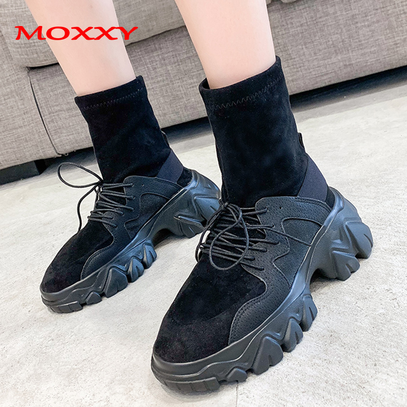 2019 New Fashion Sock Sneakers Women Shoes Lace Up High Top Sneakers Platform Designer Trainers Running Woman Black Sneakers