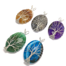 Natural Stone Agates Necklace Pendant Silver-color Tree of Life Wire Wrapped Water Drop Shape Charms for Women Jewelry(China)