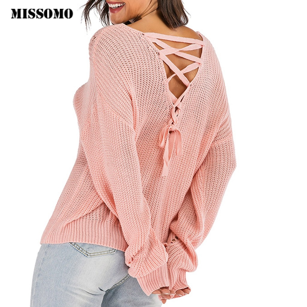 MISSOMO Sexy Backless V-neck Sweater Women Pullover Pink Hollow Out Back Cross Lace Up Jumper Winter Knitted Sweater Women Tops