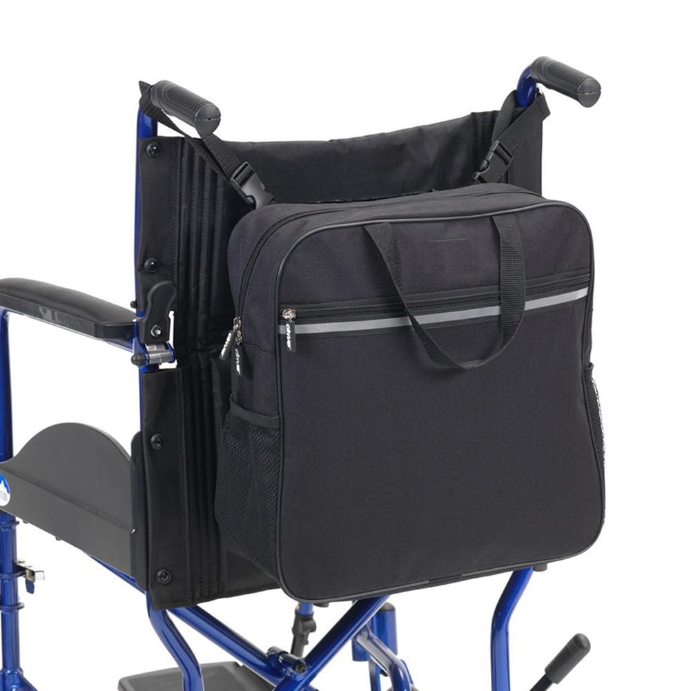 Shopping Storage Reflective Stripe Wheelchair Bag Water Resistance Organizer Black Travel Old People Lightweight Multi Function