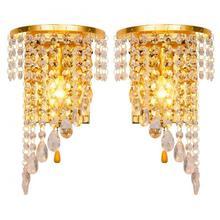 Левый и правый настенный светильник, хромированный серебристый настенный светильник, бра, золотой фойе, для гостиной, спальни, прикроватный настенный светильник, бра, кристалл