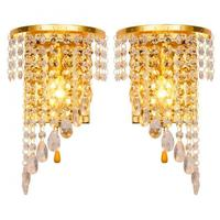 Left Right A Pair Of Light Chrome Silver Wall Lamp Sconce Gold Foyer Living Bedroom Bedside Wall Lamp Light Sconce Crystal