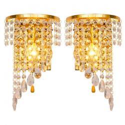 Lewego prawego parę światła Chrome srebrne ścienne lampy kinkiet złota Foyer salon lampa ścienna do sypialni światła kinkiet kryształ w Wewnętrzne kinkiety LED od Lampy i oświetlenie na