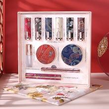 11Pcs Makeup Cosmetics Set Retro Chinese Style Lipstick Set Gift Box Powder Eyeliner Mascara Beauty Make Up Tool Girls Best Gift