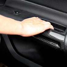 Par de fibra de carbono interior porta braço decoração capa guarnição apto para ford mustang 2014 2015 2016 2017 2018 acessórios automóveis novo