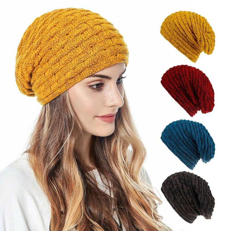 Головной платок однотонная шапка аксессуары головной убор вязаная