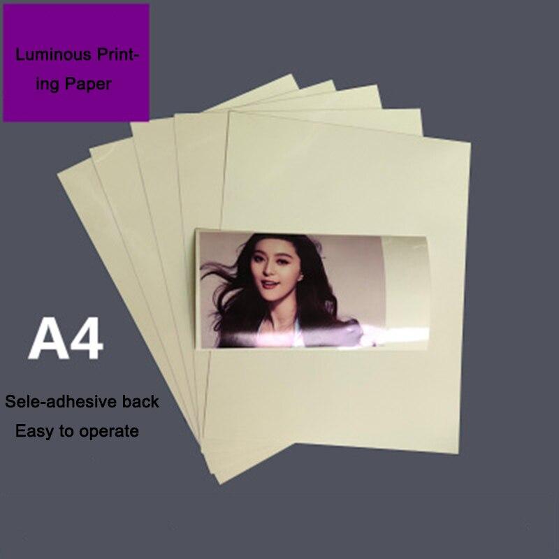 10PCS High Quality Glow in the dark sheet A4 luminous self adhesive mobile phone case luminous photo paper storage light