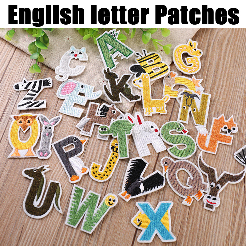 A-Z Animal English Alphabet cute kids Letters Patches Iron on for Clothes Applique Jacket Jeans scrapbooking DIY Patchwork