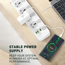 LDNIO Smart Universal Surge Protector 10A 100 240V 4 Outlet power strip with 2 meters Long Power Cords and US/EU/UK Plug switch