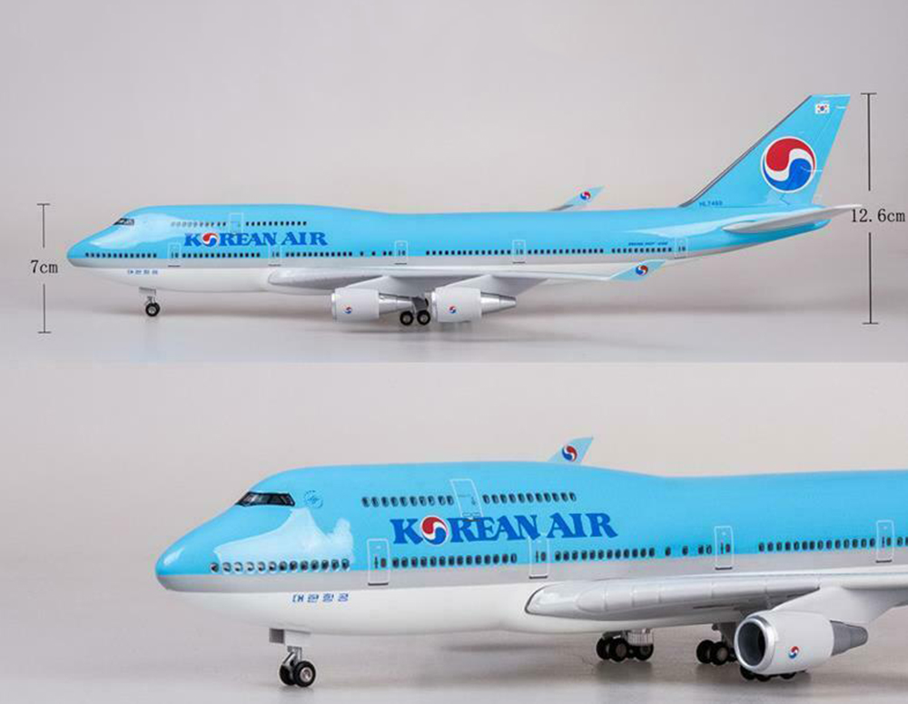 Kids Toys 1/157 1/157 KOREAN AIR PLANE Model LED Light Passanger Plane B747 Resin Airplane Toy Airforce Model
