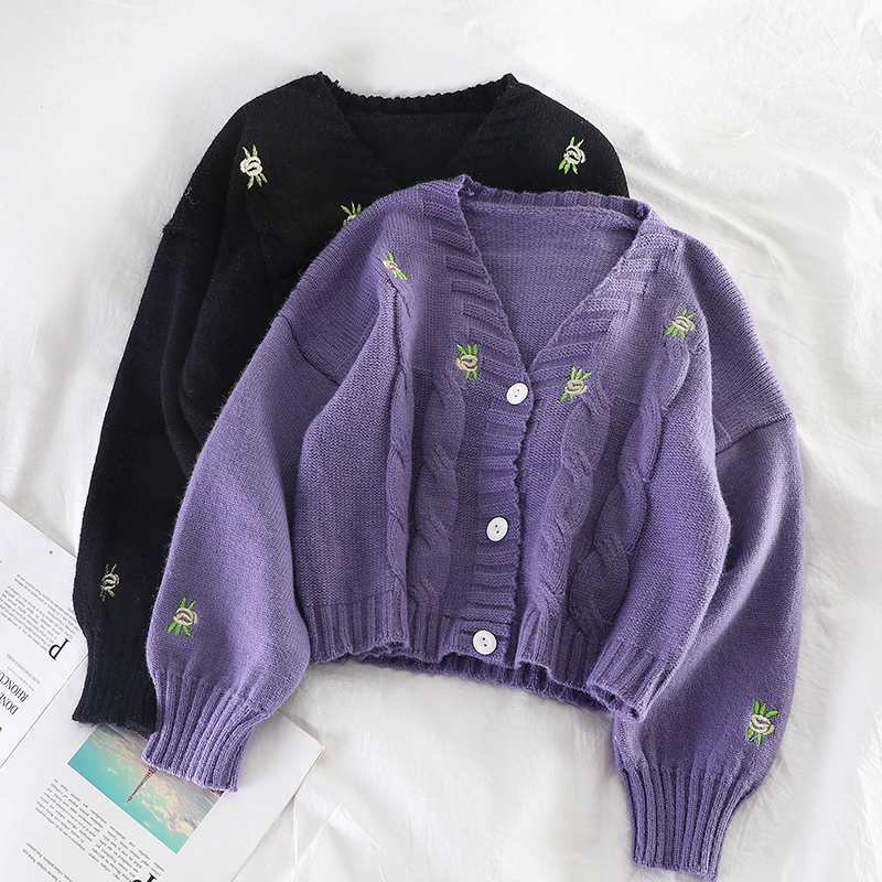 Women Knitted Cute Fashion Loose Sweater Spring Autumn V Neck Lantern Sleeve Embroidery Floral Harajuku Female Cardigan