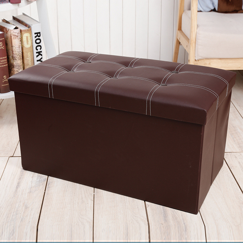 Foldable Storage Ottoman Bench Faux Leather Cushion Sofa Fitting Room Stool Bedroom Furniture Footstool Cabinet Memory Foam