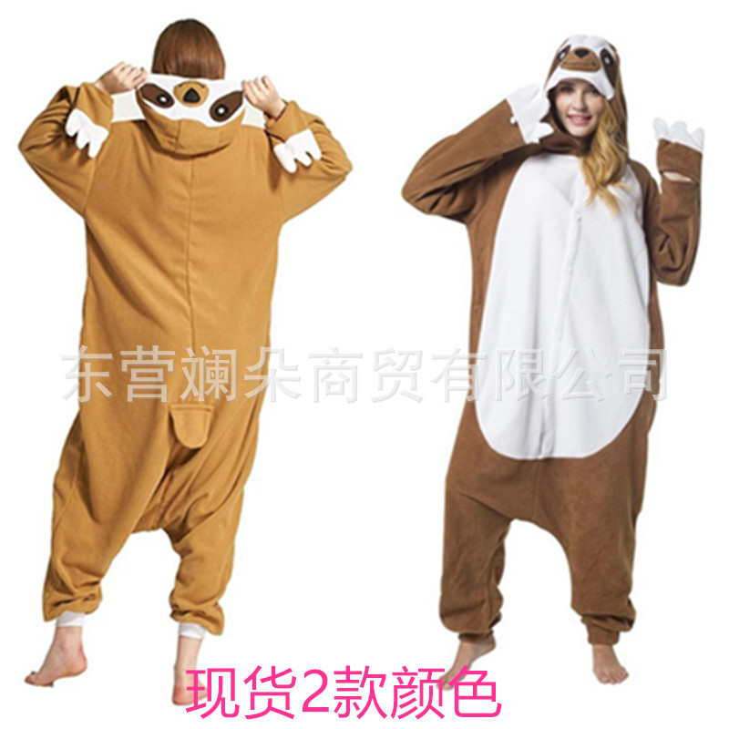 пижамаPajama Women's Hot Selling Autumn And Winter Animal Cartoon One Piece Pajamas Sloth Fleece Couple Women's Home Clothes