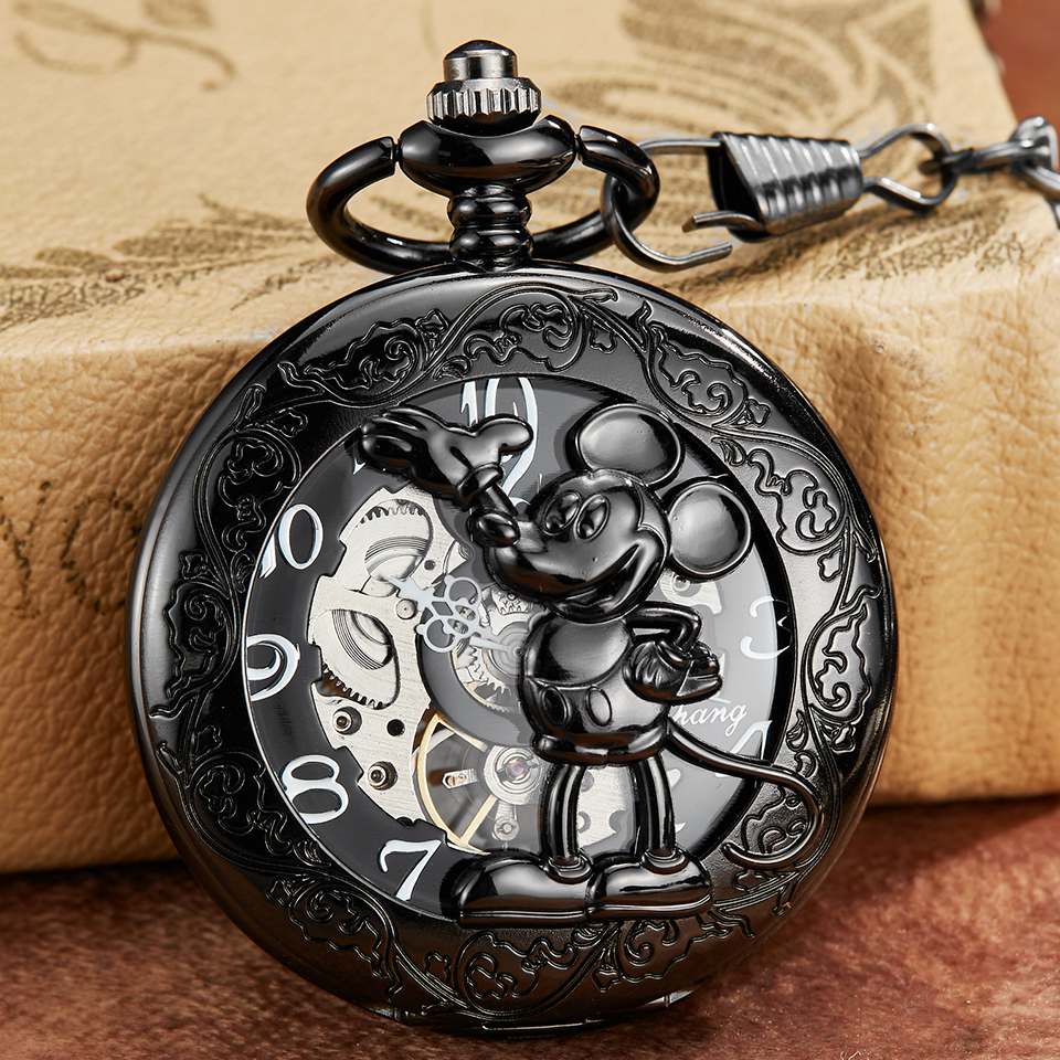 Black Mouse Mechanical Pocket Watch Hollow Animal Laser Engraved Clock Gold Sliver Necklace Hand Winding Fob Watch With Chain