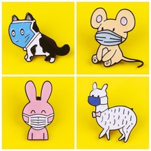 Cartoon Masked animals Metal Zinc Alloy Brooch Fashion Cute Cat Dog Badge Pin Fun Trendy Outside Clothing Backpack Jewelry Gift zinc alloy artificial diamond crown pin brooch silver