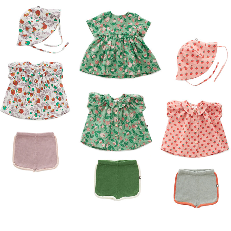 2020 Oeuf Kids T-Shirts Bloomers Girls Cotton Tops Shorts New Summer Children Tees Baby Girl Clothes Dresses Cap Toddler Outfit 1