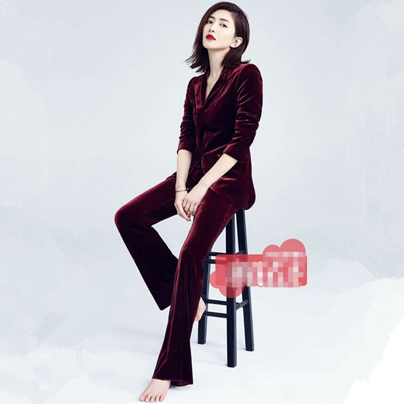 Women's Pant Suitsvelvet Business Suit Fashion Suit Female Career Suit Temperament Casual Two-piece Pantsut Super Star